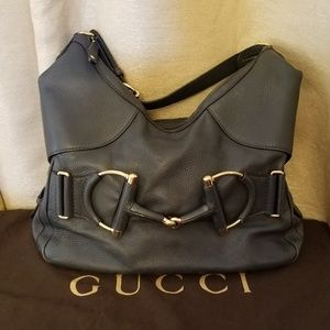 Gucci Horsebit Heritage Gray Leather Hobo Bag